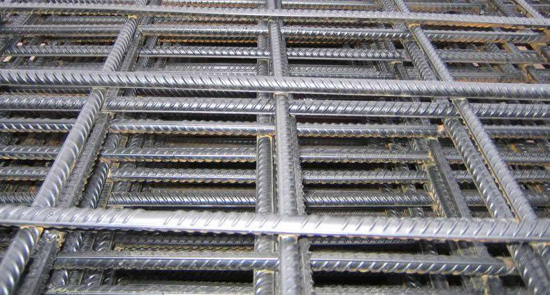 Galvanised concrete reinforcing mesh panels with rectangle mesh opening.