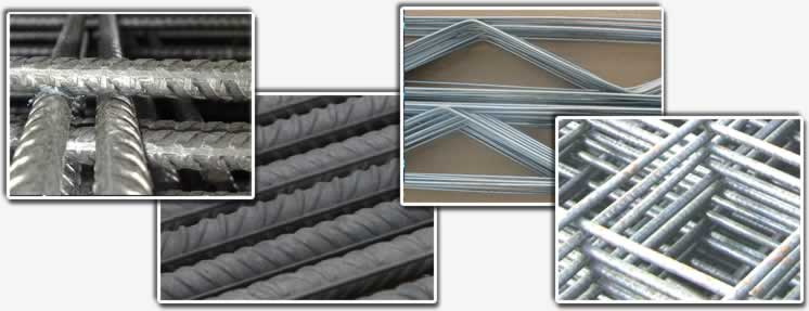 This picture includes four small pictures: two welded ribbed mesh panels, rebars, and a galvanized truss mesh picture.